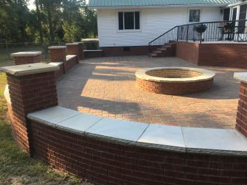 Seating wall and paver patio